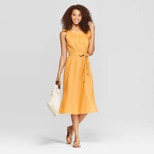 NWT Marigold-Colored Cotton Midi Wrap Dress